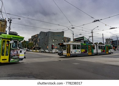 MELBOURNE, AUSTRALIA - AUGUST 15 2017 - Federation Square the hearth of the town with modern lines and bulding, adjacent to Flinders Street station.