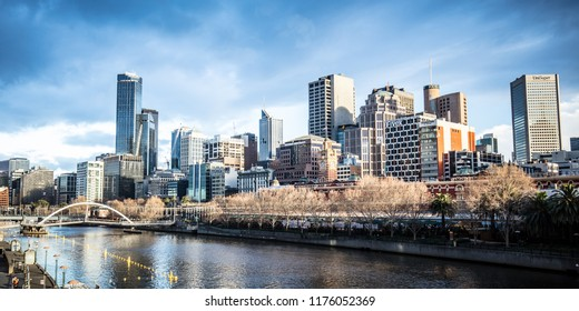 MELBOURNE, AUSTRALIA- AUGUST 15 2018 - The Melbourne skyline from Southbank and Princes St Bridge on a cool winter's morning