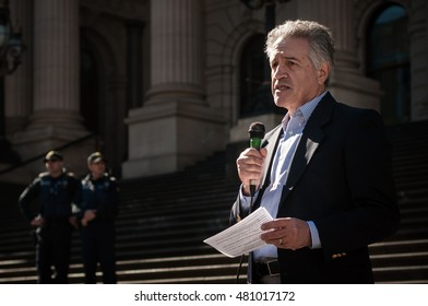 Melbourne, Australia - August 16, 2016: Dr Colin Mendelsohn addresses vapers at Parliament House in Melbourne, Victoria, to protest the introduction of new laws that would treat vaping like smoking.