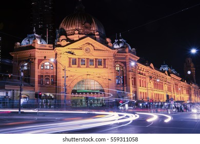 Melbourne, Australia - August 17, 2016: View of a Melbourne city street at night. Long exposure image. August 17, 2016.