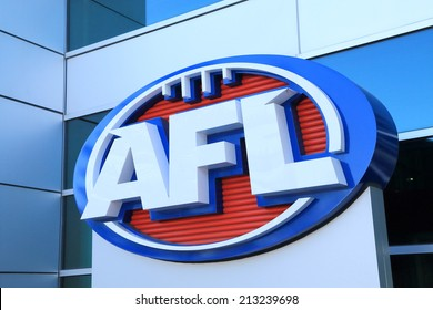 MELBOURNE AUSTRALIA - AUGUST 23, 2014: AFL Australian football - AFL, Australian Football League is the highest-level professional competition in the sport of Australian rules football.