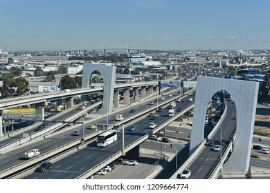 Melbourne, Australia - August 23, 2018: Traffic passes along motorway roads in the city centre.