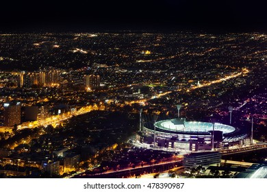 Melbourne, Australia - August 27, 2016: Aerial night view of the city and Melbourne Cricket Ground - home of Australian Football and the National Sprots Museum