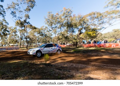 MELBOURNE, AUSTRALIA - AUGUST 27:  Driver Brian Newton and Co Driver Ryan Price in a Honda EG6 during the 2017 Victorian Rally Championship, Round 3, Australia on August 27 2017.