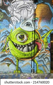 MELBOURNE, AUSTRALIA - AUGUST 28TH, 2014: Street art by unidentified artist. Melbourne local councils recognise the importance of street art in creating a vibrant city.