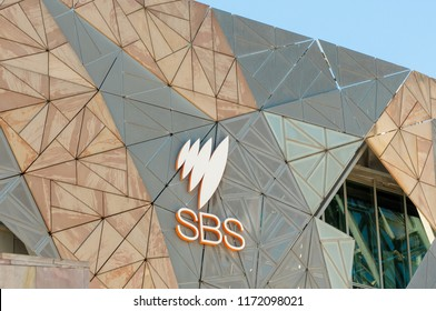 Melbourne, Australia - August 29th 2018: SBS logo on SBS's Melbourne offices in Federation Square