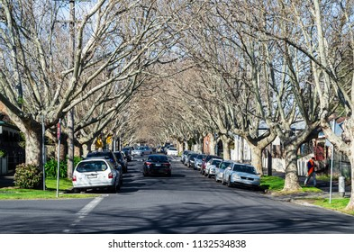 Melbourne, Australia - August 30, 2015: quiet urban street in Flemington, a multicultural inner western suburb of Melbourne in the City of Moonee Valley.