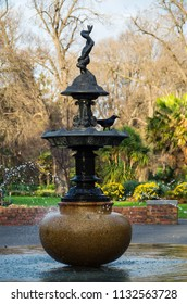 Melbourne, Australia - August 30, 2015: Conservatory Fountain is a cast iron ornamental fountain in Fitzroy Gardens. Built around 1900 it has been in its present place and form since 1996.