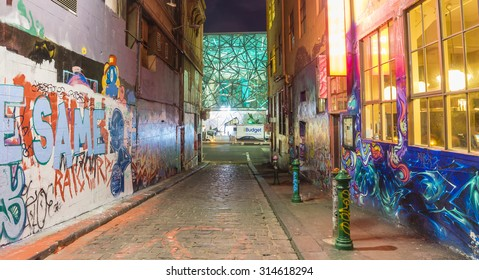 Melbourne, Australia - August 30, 2015: View of Hosier Lane in Melbourne at night. Hosier Lane is one of the city's best street art locations.