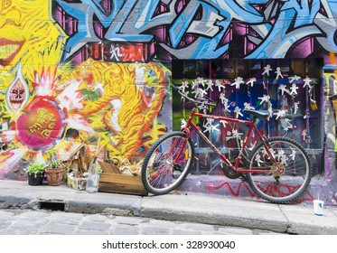 Melbourne, Australia - August 30, 2015: Bicycle parked in the Hosier Lane in Melbourne. Hosier Lane is one of the city's best street art locations.