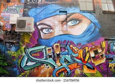 MELBOURNE, AUSTRALIA - AUGUST 30TH, 2014: Street art by unidentified artist. Melbourne local councils recognise the importance of street art in creating a vibrant city.