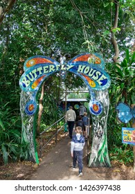 Melbourne, Australia - August 4, 2018: The Royal Melbourne Zoological Gardens or Melbourne Zoo opened in 1862. This is the entrane to the Butterfly House.