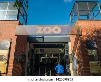Melbourne, Australia - August 4, 2018: The Royal Melbourne Zoological Gardens or Melbourne Zoo opened in 1862. This is the secondary northern entrance.