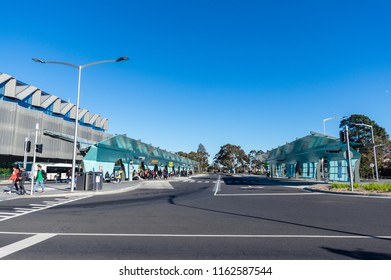 Melbourne, Australia - August 5, 2018: Bus interchange at the Clayton campus of Monash University. Buses provide the only public transport connection for the suburban university campus.