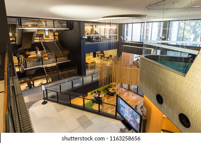 Melbourne, Australia - August 5, 2018: the Sir Louis Matheson Library at the Monash University Clayton campus was refurbished in 2017 by Cox Architecture.