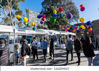 Melbourne, Australia - August 5, 2018: information stalls of student clubs on the annual open day at the Monash University Clayton campus in suburban Melbourne.