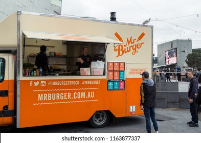 Melbourne, Australia - August 8, 2015: Mr Burger is a Melbourne food truck business founded in 2012. It now also operates in Hobart and Brisbane.