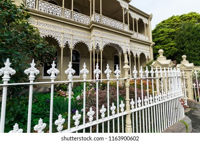 Melbourne, Australia - August 8, 2015: the inner suburb of East Melbourne is known for its historic terrace houses. It is one of the wealthiest parts of Melbourne.