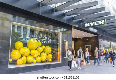 Melbourne, Australia - August 8, 2015: Shoppers walking outside Myer in Melbourne. Myer is Australia's largest department store group.