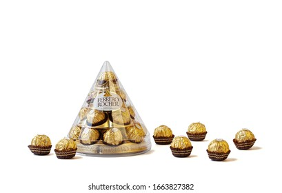 Melbourne, Australia circa February 2020: Ferrero Rocher chocolate box with individual chocolates isloated on white background with copy space