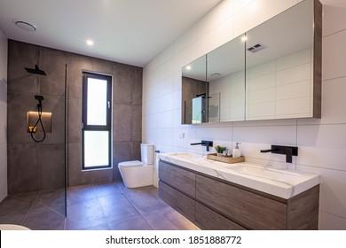 Melbourne, Australia - Circa October, 2020: Bathroom in a modern home interior