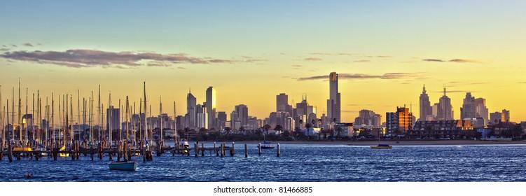 Melbourne, Australia, at dawn, viewed from St Kilda.