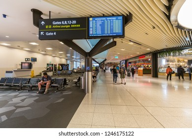 Melbourne, Australia - Dec 02 2018: Melbourne Airport or Tullamarine Airport, is the primary airport serving the city of Melbourne, and the second busiest airport in Australia.