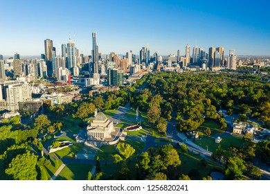 Melbourne, Australia - Dec 1, 2018: Aerial view of Melbourne CBD at sunrise