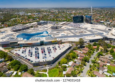 Melbourne, Australia - Dec 11, 2018: Aerial view of Chadstone Shopping Centre and surrounding residential area. It is the largest mall in Australia.