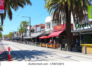 Melbourne / Australia - Dec 23 2016: Street with shops and coffee houses in St Kilda