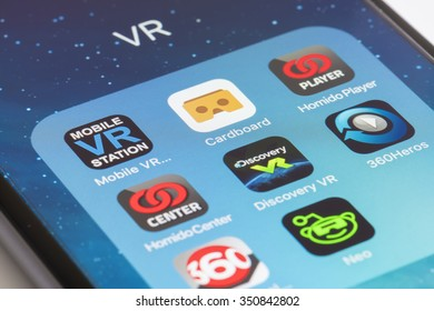 Melbourne, Australia - Dec 9, 2015: Close-up view of some virtual reality apps on an iPhone running iOS
