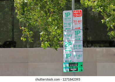 MELBOURNE AUSTRALIA - DECEMBER 1, 2018: Parking permit sign in Melbourne Australia