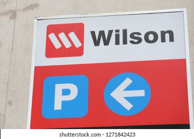 MELBOURNE AUSTRALIA - DECEMBER 1, 2018: Wilson car park sign. Wilson is a car park management company firstly opened for business in Perth operating worldwide.