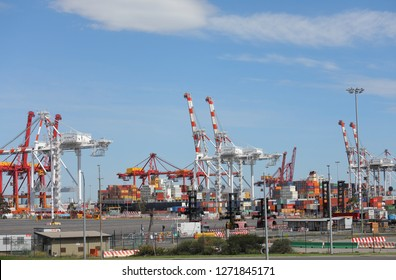 MELBOURNE AUSTRALIA - DECEMBER 1, 2018: Port of Melbourne in Melbourne Australia
