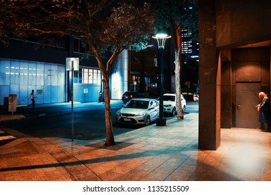 MELBOURNE, AUSTRALIA - DECEMBER 10, 2014: Night streets of Melbourne. Melbourne is the capital and most populous city in the state of Victoria
