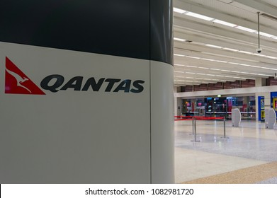 Melbourne, Australia - December 10, 2016: Melbourne airport Qantas terminal with Qantas sign