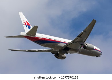 Melbourne, Australia - December 11, 2014: Malaysia Airlines Boeing 777 airliner 9M-MRG departing Melbourne International Airport.