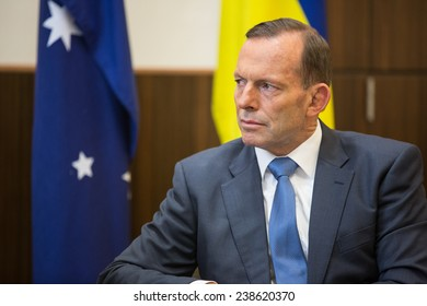 MELBOURNE, AUSTRALIA - DECEMBER 11, 2014: Australian Prime Minister Tony Abbott during a meeting with the President of Ukraine Petro Poroshenko in Melbourne