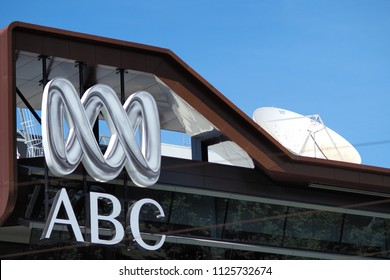 Melbourne, Australia - December 13, 2017: Logo and wordmark of the Australian Broadcasting Corporation on a building in Melbourne