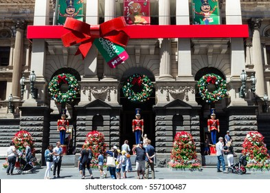 melbourne australia december 18 2016 christmas decorations on the facade of the - Christmas Decorations Australia