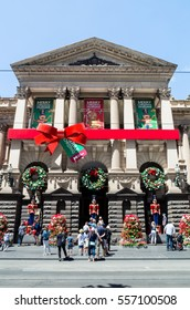 Melbourne, Australia - December 18, 2016: Christmas decorations on the facade of the Melbourne Town Hall in Swanston Street in central Melbourne.