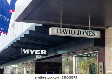 Melbourne, Australia - December 18, 2016: David Jones and Myer operate rival department store chains in Australia. Their flagship stores are next to each other on Bourke Street Mall in Melbourne.