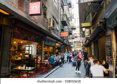 Melbourne, Australia - December 18, 2016: Degraves Street is a popular cafe and retail laneway between Flinders Street and Flinders Lane in Melbourne.