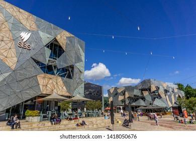 MELBOURNE, AUSTRALIA - DECEMBER 22, 2018: Federation Square against blue sky