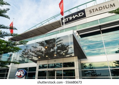 Melbourne, Australia - December 23, 2016: the headquarters of the Australian Football League (AFL) are located at AFL House, Etihad Stadium at Docklands. The AFL runs Australian rules football.