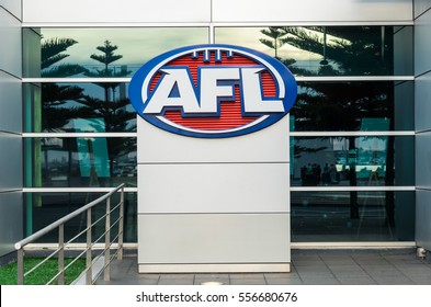 Melbourne, Australia - December 23, 2016: the headquarters of the Australian Football League (AFL) are located at AFL House, Etihad Stadium at Docklands. The AFL runs Australian rules football.