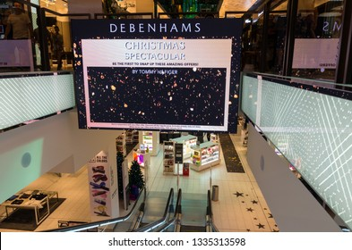 Melbourne, Australia - December 23, 2018: Debenhams is a British department store chain. This is the Melbourne store in the St Collins Lane shopping centre in central Melbourne.