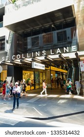 Melbourne, Australia - December 23, 2018: St Collins Lane shopping centre is owned by JPMorgan Asset Management. It was redeveloped in 2016.
