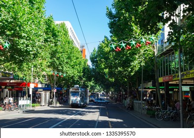 Melbourne, Australia - December 23, 2018: trams on Swanston Street, the main street running through central Melbourne.