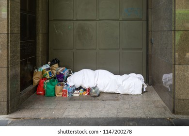 Melbourne, Australia - December 25 2017: A Merry Christmas is not a reality for the many homeless people in Melbourne. The 2017 census reports 105,000 homeless people Australia-wide.